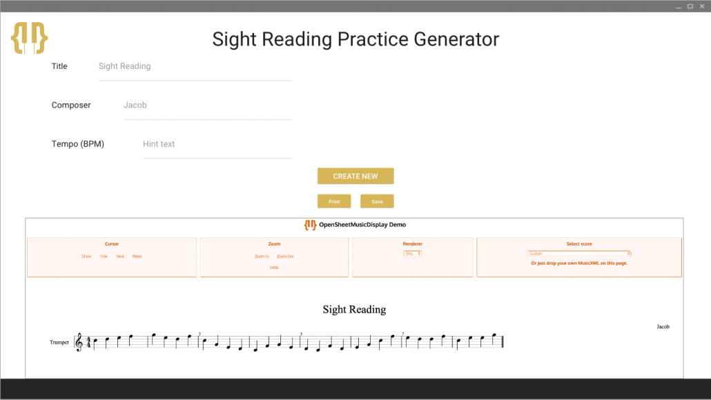 Picture of Prototype for OSME Sight Reading Practice Generator